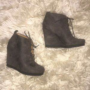 Nine West Suede Lace Up Booties